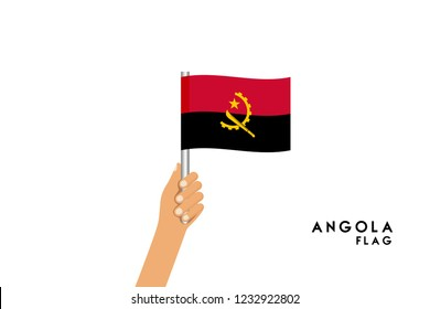 Vector cartoon illustration of human hands hold Angola flag. Isolated object on white background.
