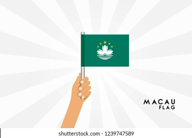 Vector cartoon illustration of human hands hold Macau flag. Isolated object on white background.