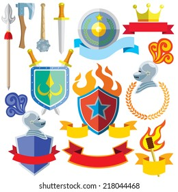 Vector cartoon illustration icon set of knight weapons, banners and arms of seal.