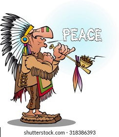 Vector cartoon illustration of an indian chief smoking  a pipe blowing peace