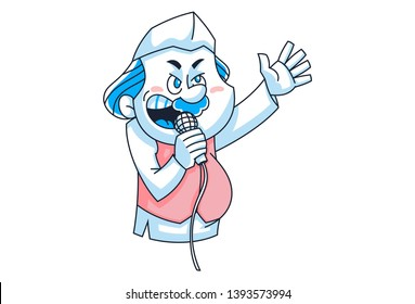 Vector cartoon illustration. Indian politician is giving speech. Isolated on white background.