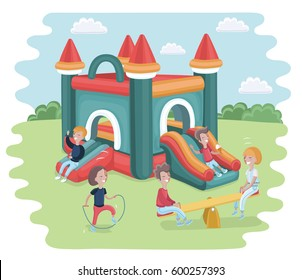 Vector cartoon illustration of Inflatable castle trampoline and playing children. Skipping rope and seesaw