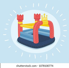Vector cartoon illustration of inflatable castles and children hills on playground. Object on isolated background.