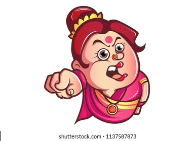 Vector cartoon illustration of iyer aunty ji angry expression. Isolated on white background.