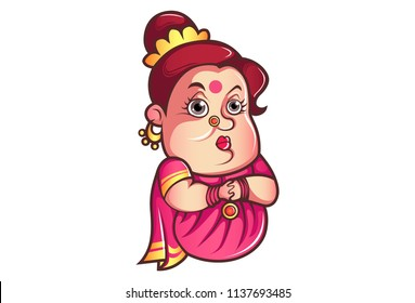 Vector cartoon illustration of iyer aunty ji sad face with closed hand. Isolated on white background.
