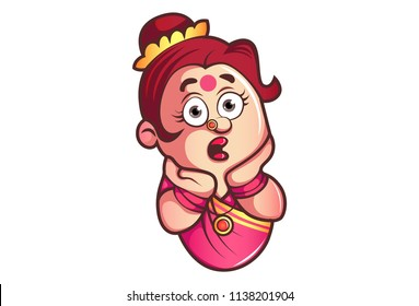 Vector cartoon illustration of iyer aunty ji shocking face expression and his both hand on face. Isolated on white background.
