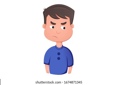 Vector cartoon illustration of jealous boy. Isolated on white background.