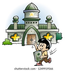 Vector Cartoon illustration of a Jewish School Boy Pointing at a Synagoque