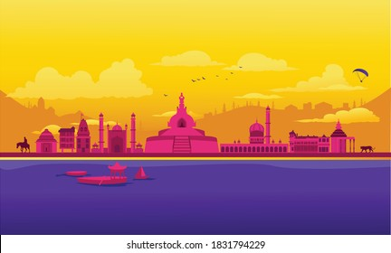 Vector cartoon illustration of the Kashmir skyline. Isolated on a colored background.