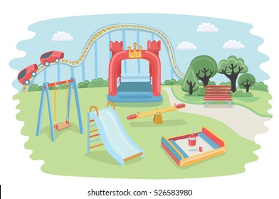 Vector cartoon illustration of kids playground. Equipment for child area in the park