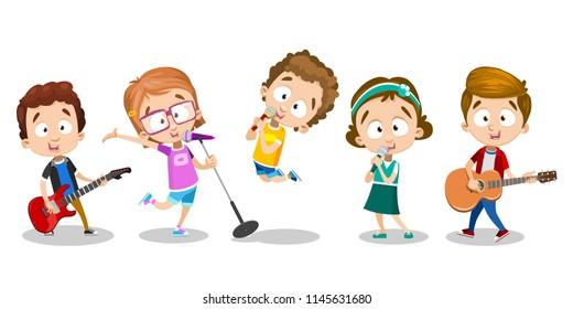 Vector cartoon illustration of kids playing music instruments, vector illustration