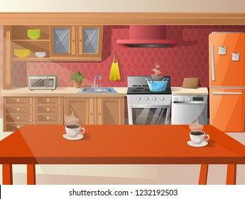 Vector cartoon illustration of  kitchen.
