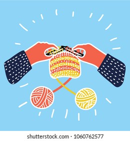 Vector cartoon illustration of Knitting icon. Hands hold needles. Colored isolated symbol. Workshop announcement.