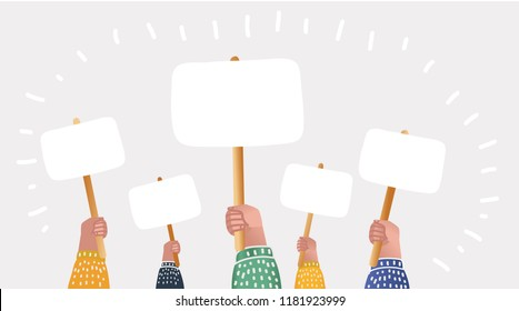 Vector cartoon illustration of large crowd of people demonstrating with blank signs. Human hands up in modern style.