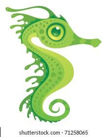 Vector cartoon illustration of a leafy sea dragon seahorse.