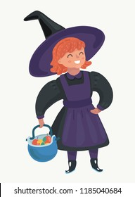 Vector cartoon illustration of Little red-haired girl. Kid character in purple dress, Halloween costume. Pot with apples and sweets in her hand. Human charactes on isolated background.