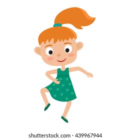 Vector cartoon illustration of little red-haired girl-dancer isolated on white. Little happy girl with pony tail dancing and smiling. Pretty dance.