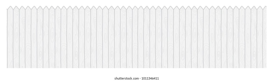 Vector cartoon illustration of a long row of white wood picket fences isolated against white background