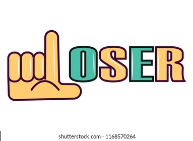 Vector cartoon illustration of loser. Isolated on white background.
