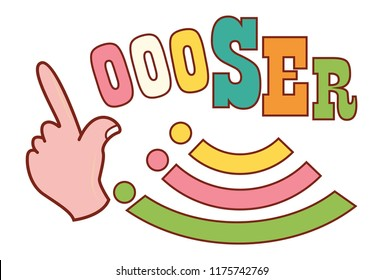 Vector cartoon illustration of loser sign. Isolated on white background.