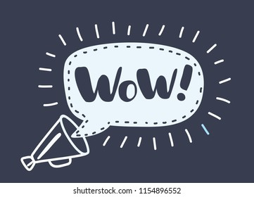 Vector cartoon illustration of loudspeaker with speech bubble with wow inside. Black and White composition on dark background.