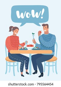Vector cartoon illustration of Loving couple in have lunch a cafe. A man and a woman are sitting at a table in a cozy restaurant. Funny human characters on isolated background.