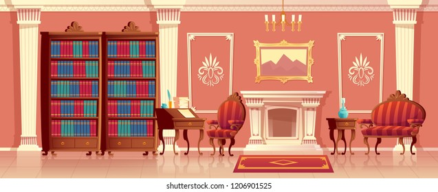 Vector cartoon illustration of luxury living room with fireplace, ballroom or hallway with pillars in royal palace. Rich interior with furniture in baroque or rococo style. Fairytale game background