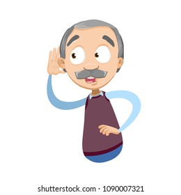 Vector cartoon illustration of male aged senior character listening something. Vector illustration in cartoon flat style, isolated on a white background