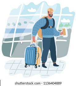 Vector cartoon illustration of Man with back and back pack is going in airport terminal holding passport and tickets . Check in. Airport background.