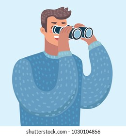 Vector cartoon illustration of man with binoculars, person looking through a spyglass. Male character on isolated background.