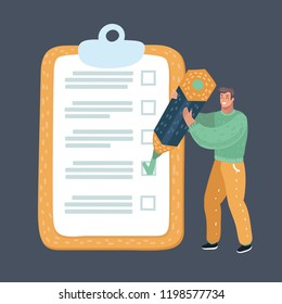 Vector cartoon illustration of man with checklist. Male character with big pencil make a mark in checklist on dark night background.