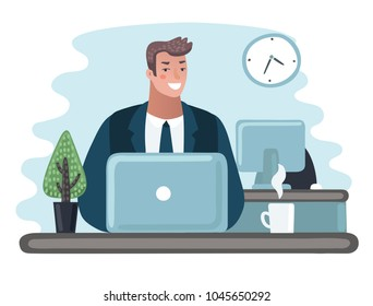 Vector cartoon illustration of man entrepreneur in a suit working on a laptop computer at his clean and sleek office desk. Modern style character. Overtime, came earlier, left after all.