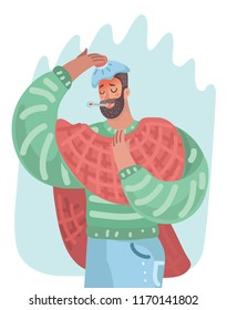 Vector cartoon illustration of man having cold or the flu, he have a headache, fiver. Standing with cold hot bottle at his head and termometr in mouth.