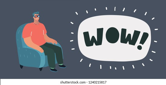 Vector cartoon illustration of man laughing at TV screen watching comedy show or funny film. Recreation scene. Male character on dark.