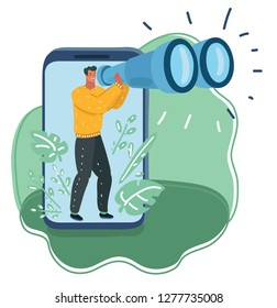 Vector cartoon illustration of man looking through binoculars. Lead Navigator, data collection, research concept, male character look out the smartphone display.
