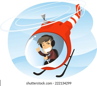 Vector cartoon illustration of a man piloting a helicopter.