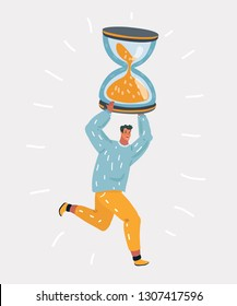 Vector cartoon illustration of man showing lack of time on his hourglass. Running character in stress on white background.