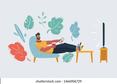 Vector cartoon illustration of man sitting on the couch and watching TV. Funny characters on isolated background.