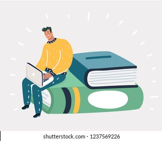 Vector cartoon illustration of man spends time by studying or working, sitting on stack books. Young male person attentively finding out more information in internet. Process of learning and educating