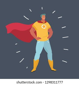 Vector cartoon illustration of man in super hero costumes front view fun humor fathers day. Human character on dark background.