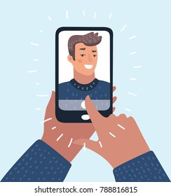 Vector cartoon illustration of man taking selfie photo on smartphone. Smartphone in male hands. Character on isolated background.