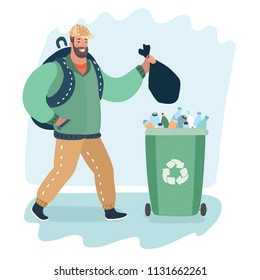 Vector cartoon illustration of Man throwing trash go green garbage can.