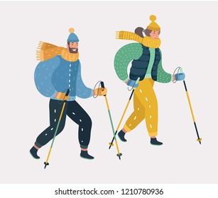 Vector cartoon illustration of man and woman Nordic walking, exercising isolated vector illustration