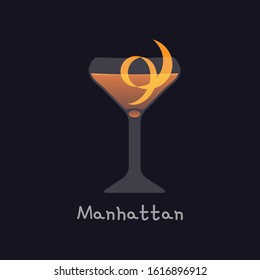 Vector cartoon illustration of Manhattan alcohol cocktail isolated on black background. Manhattan with orange skin in martini glass - illustration for alcoholic menu, restaurants