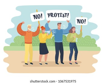 Vector cartoon illustration of manifestation - a group of people protesting. Man and woman with banner and transparent. Characters on nature landscape.