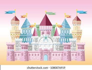 Vector cartoon illustration of medieval castle for princesses