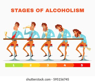 Vector cartoon illustration of men at different stages of alcoholic intoxication.