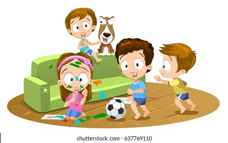 Vector cartoon illustration of mess in the house. a lot of children, Madness in the children's room. Kids jumping on couch with the dog, playing football and going crazy with paint.
