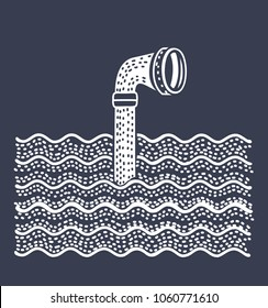 Vector cartoon illustration of Metal periscope above the water. Isolated on dark background.