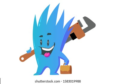 Vector cartoon illustration. Monster is holding wrench and bag in hand. Isolated on white background.